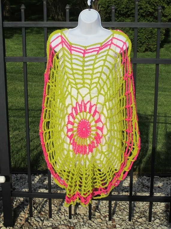 Swim Suit Cover Up. TUNIC / PONCHO in Chartreuse and Pink. Clearance Sale.