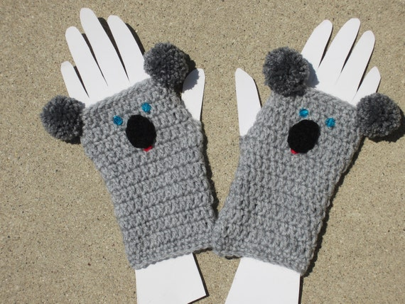KOALA FINGERLESS GLOVES.. Crochet Koala Gauntlets.