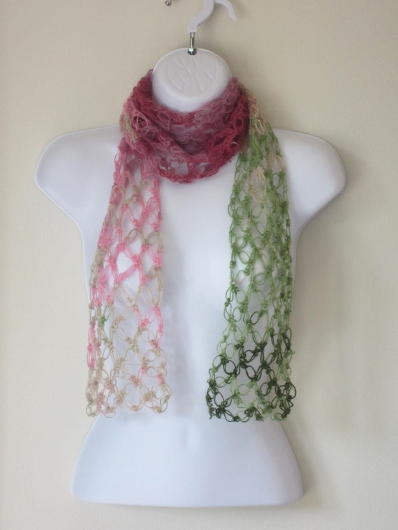Summer Scarf. Crochet love knot scarf in pinks, beige, and green.