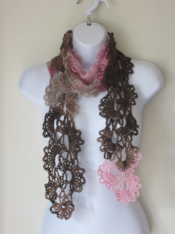 SCARF in brown, beige, pinks. Lovely Womens Scarf, Queen Anne Lace Style. Crochet all season scarf. Made to order.