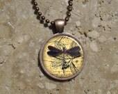 Manuscript Dragonfly - Round Copper Pendant - Resin Pendant Necklace - Manuscript Dragon Fly 3