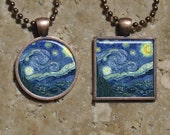 Vincent Van Gogh - Starry Night- Square or Circle Copper Pendant - Resin Pendant Necklace