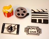 MOVIE LOVER-  Fondant Cupcake, and Cookie Toppers - 2 Dozen