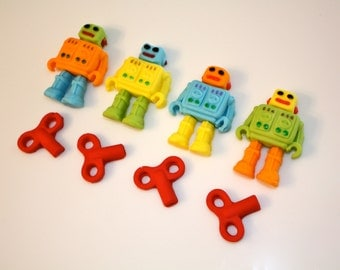 1/2 ROBOT -  Fondant Cupcake, and Cookie Toppers - 1 Dozen
