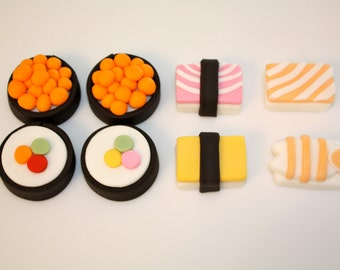 SUSHI LOVER-  Fondant Cupcake, and Cookie Toppers - 1 Dozen
