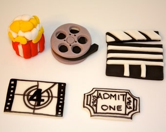 MOVIE LOVER-  Fondant Cupcake, and Cookie Toppers - 1 Dozen