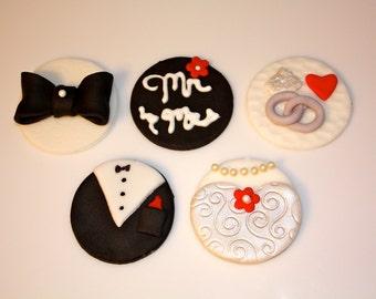 MR. MRS. WEDDING -  Fondant Cupcake Tops - 1 Dozen