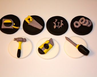 HANDYMAN TOOL SET -  Fondant Cupcake, and Cookie Toppers - 1 Dozen