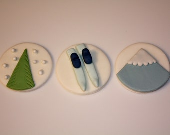 MOUNTAIN SKIING and SNOW  -  Fondant Cupcake, and Cookie Toppers - 1 Dozen