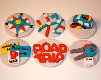 ROAD TRIP  -  Fondant Cupcake, and Cookie Toppers - 1 Dozen
