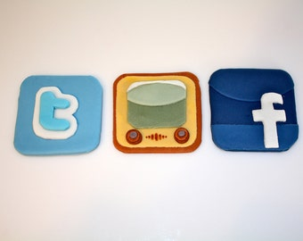 PHONE APP ADDICT -  Fondant Cupcake, and Cookie Toppers - 1 Dozen