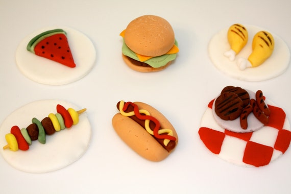 PICNIC FOOD BONANZA-  Fondant Cupcake, and Cookie Toppers
