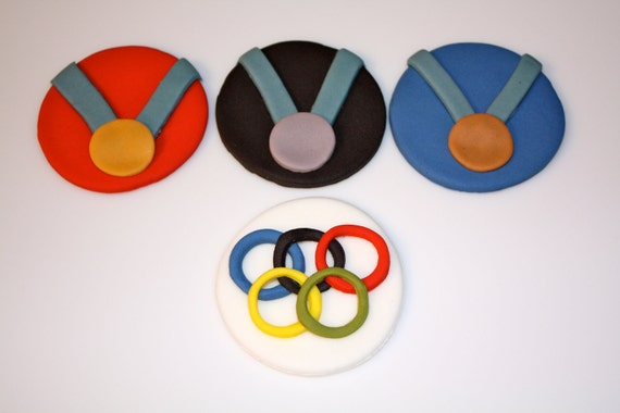 OLYMPICS  -  Fondant Cupcake, and Cookie Toppers - 2 Dozen
