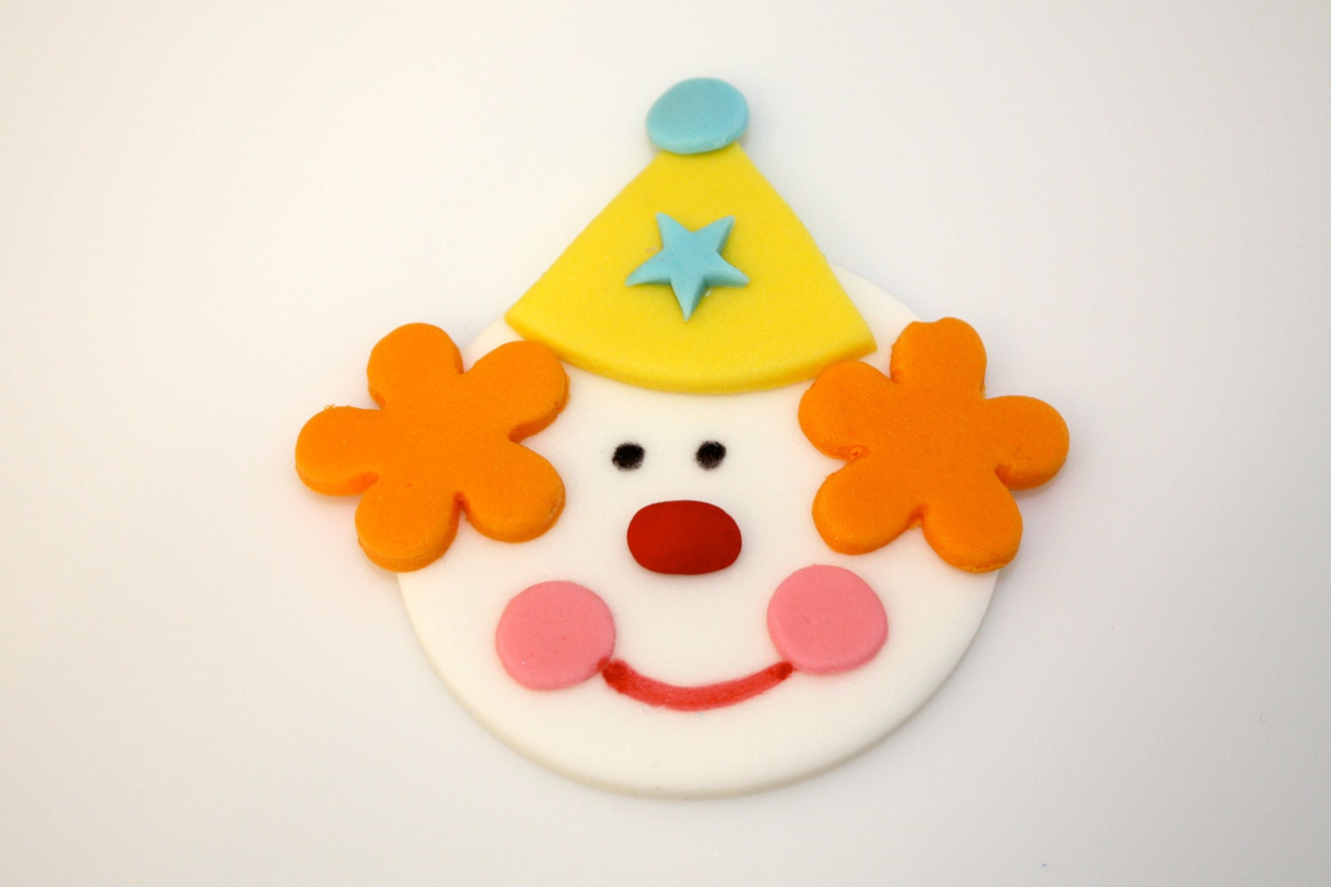 circus clown fondant cupcake and cookie toppers 1 dozen