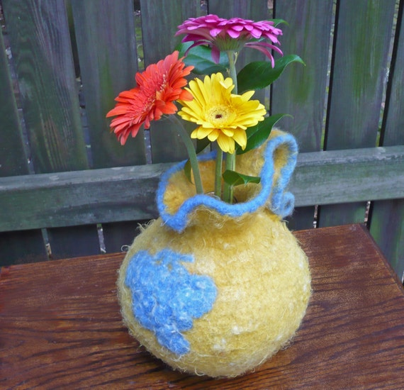 Felted Wool Pitcher Italian Majolica Vase Faux Pottery Grapes Yellow and Blue