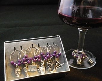 Wine Lovers-Wineglass Charms Vineyards, corkscrew, martini glass, grapes, cheese, wine barrel, mead cup, champagne bottle