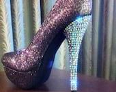 Gunmetal Crystallized High Heels
