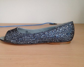 Embellished Navy Blue Peep Toe Flats