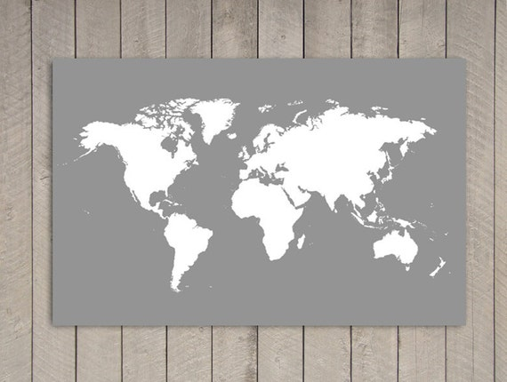 Gray Poster World Map Print - 39.4 in x 27.5 in - XLARGE