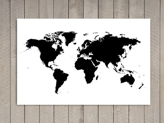 BLACK Poster World Map Print - 39.4 in x 27.5 in - XLARGE