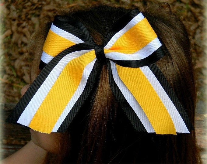 Cheer Bows, Hair Bows, Custom Cheer bows, Team Cheer bows, Three Layer Cheer Bow, Black White Gold, Cheer Hair Bow, Custom Hair Bow