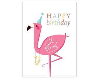 Flamingo Birthday Card - card for flamingo lover - card for friend - card for female