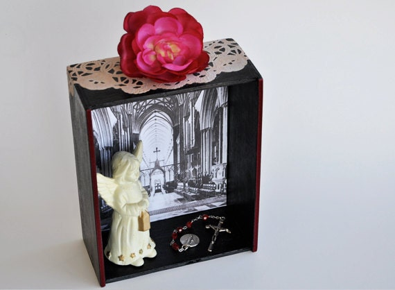 Holy Shrine Angel Art Box Vintage Distressed Upcycled Catholic Church Religious Cathedral France Mixed Media Assemblage
