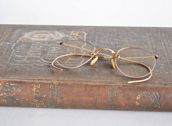 Vintage Wire Frame Eyeglasses Antique Spectacles Old Eye Glasses Victorian Eyewear Metal