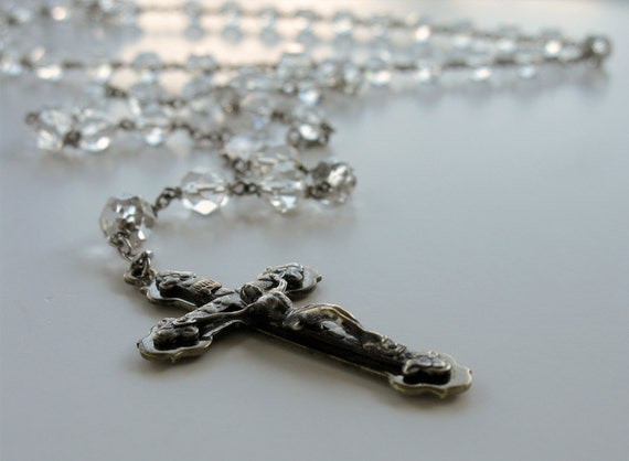 Vintage Faceted Clear Cut Crystal Rosary