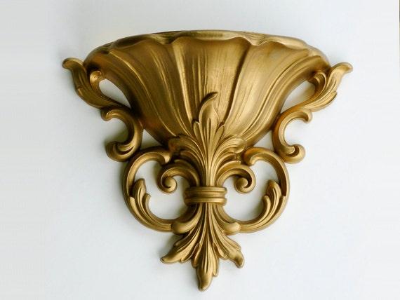 Vintage Homco Wall Pocket, Gold, Fleur de Lis, Retro Decor, Mid Century, 4446