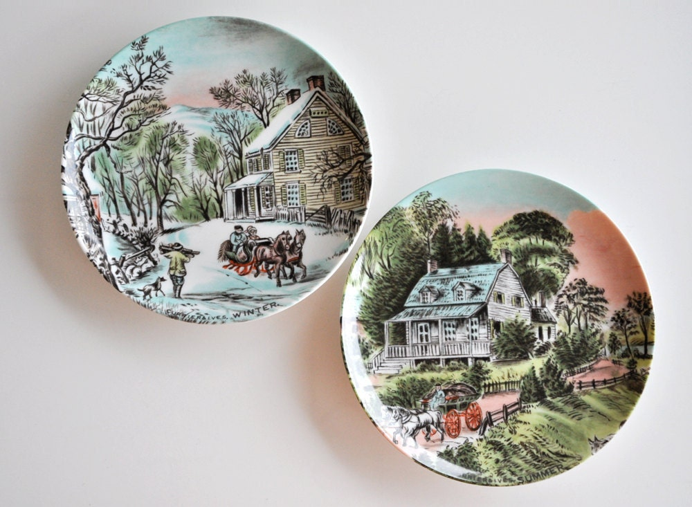 Currier and ives seasons plates winter and summer by fairylynne