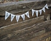 PRICE DROP CLEARANCE Bride and Groom Burlap Bunting/Banner Wedding Chair Decorations