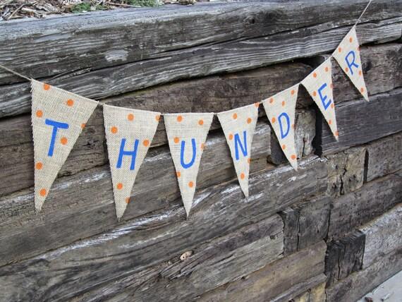 Oklahoma City Thunder Basketball Natural Burlap Bunting/Banner