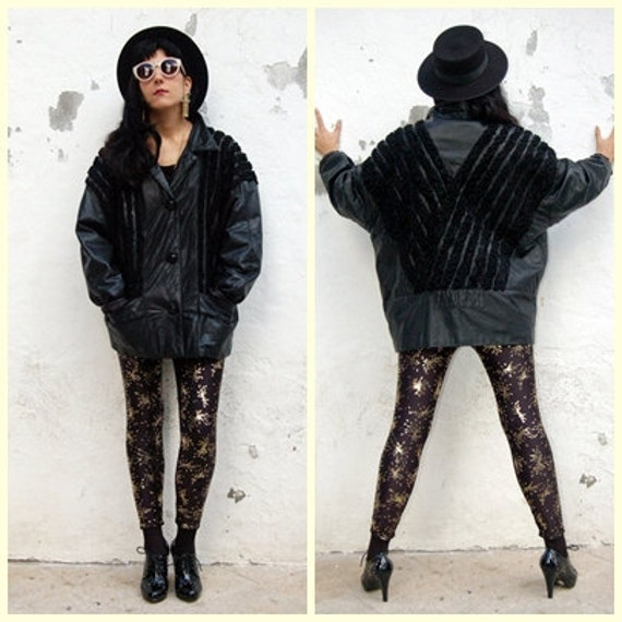SALES Vintage 80s Leather Jacket Black-Back with  V cuts adornments-ultra Glam-.Unisex