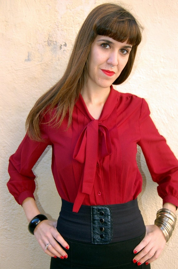 Amazing Vintage 80s Blouse- Deep Red- with nock in neck-Transparent and pleated
