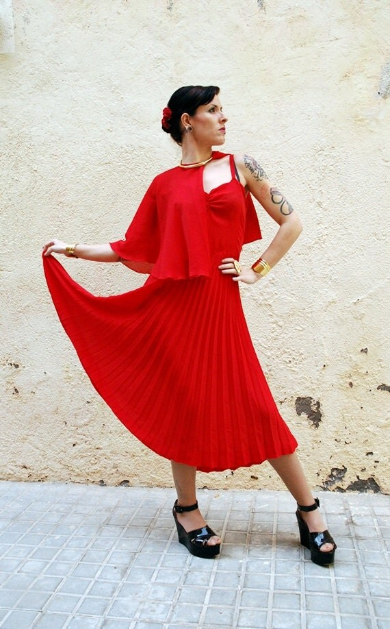 Lady in Red - Vintage 70s Sexy Semi-Sheer Red Dress w Pleated Full Skirt and Matching Poncho Cape - Valentines Day Disco Queen