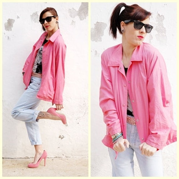Lady Bubble Gum - 80s Vintage Lovely Windbreaker Pink and Plastic Fabric