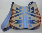 Pendleton wool purse/ hobo Bag, in a stunning Navajo pattern of blue tones, rust, and cream, medium size