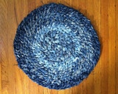 "Denim Rag Rug 17"" Round. Made to Order"