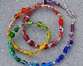 Rainbow Glass Beaded Necklace