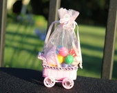 Pink  Baby Carriage, Baptism Favors,  Baby Shower favors, Candy Containers, carriage pouch, candy pouch, unique organza pouch   (12 Pieces)