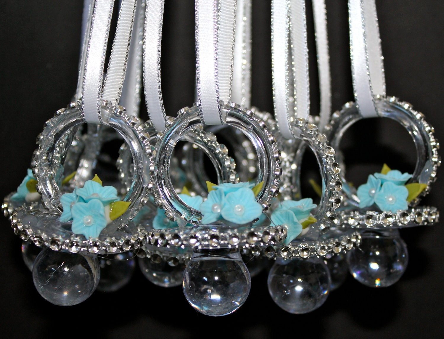 12 teal baby shower pacifier necklace baby by favorsboutique