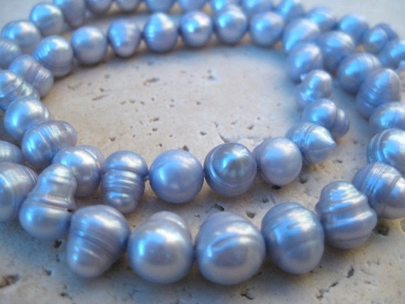 7-8mm Light Blue/Lavendar Fresh Water Baroque Potato Pearls--Full Strand