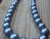 Glass Beaded Necklace Slate, Grey Beaded Necklace, Slate Graduated Necklace