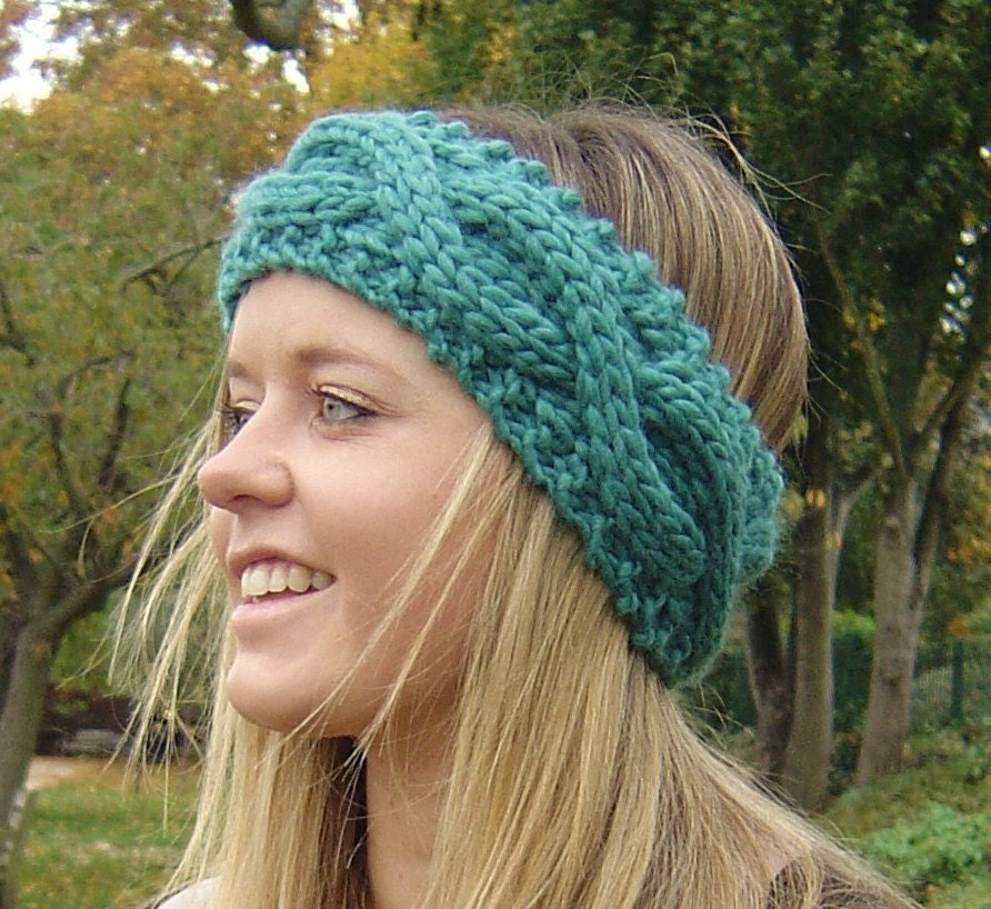 Knitting Pattern Headband Ear Warmer : KNITTING PATTERN Chunky Headband Ear Warmer by ...