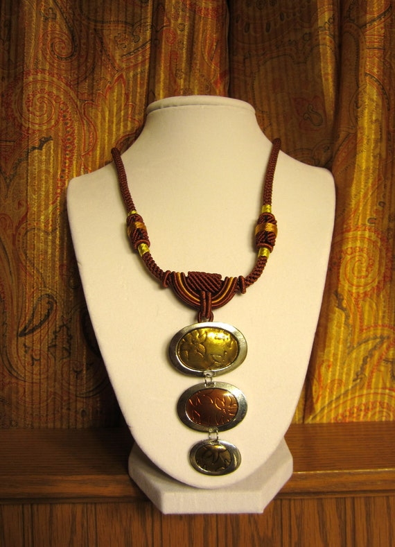Brown and Gold Chinese Cord Necklace
