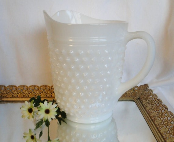 Milk Glass Pitcher, Hobnail, Vintage