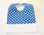 Baby Bib with Crumb Catcher Pocket, white dots on a blue background,  Cotton Chenille bib, Newborn baby shower gift, Bib with snaps