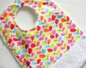 Baby Bib with Crumb Catcher Pocket, Colorful leaves print,  Cotton Chenille bib, Newborn baby shower gift, birthday gift, Bib with snaps