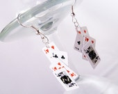 PLAYING CARD EARRINGS - poker, casino, dollhouse miniatures.